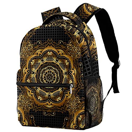 Mochila de viaje con mandala dorada, mochila de escuela, mochila informal para mujeres, adolescentes y niñas