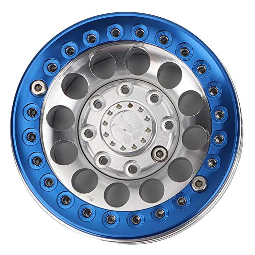 Dilwe 4 Stücke 1,9 Zoll Beadlock Felge Radnabe, Zubehörteil für SCX10 1/10 RC Crawler Car(Silver blau)