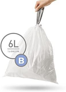 simplehuman Code B Custom Fit Drawstring Trash Bags, 6 liters / 1.6 gallons (90 Count)