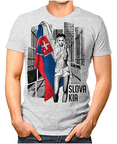 OM3® - Slovakia-Soccer-Girl - Herren T-Shirt EM 2020 Fußball Trikot Sexy Frau Slowakei Vintage Grau Meliert XL