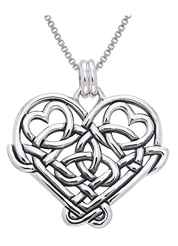 Jewelry Trends Sterling Silver Celtic Knot Eternal Love Heart Pendant Necklace 18' Love Gift