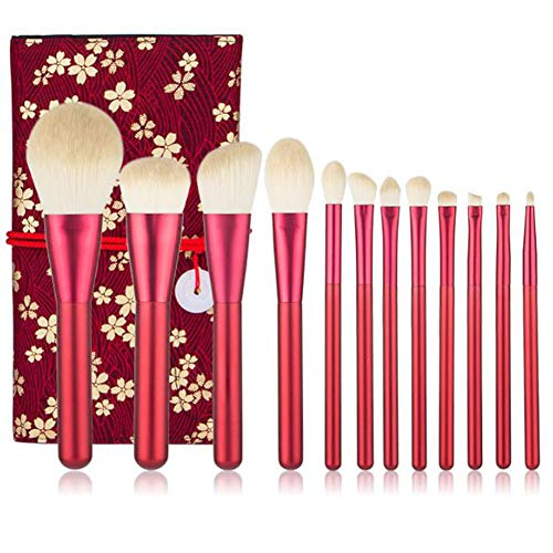 SJTL 12 pcs Makeup Pinsel Set Chemiefaser Chinesisches Rot Einschließlich Puderpinsel Lidschatten...