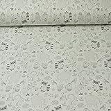 Baumwolljersey von Hilco, Waldtiere, weiß (25cm x 150cm)
