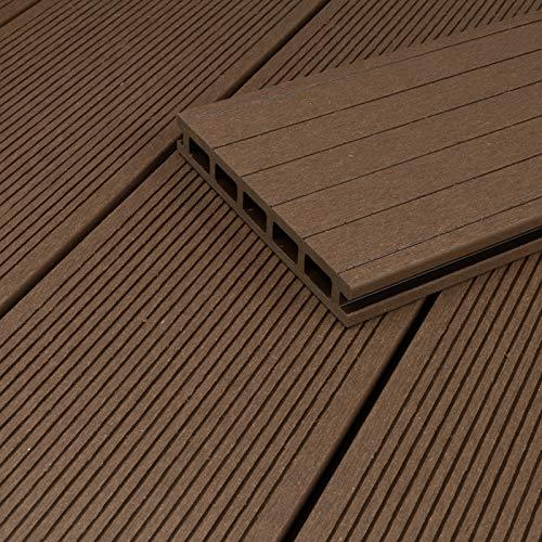 HORI Tablones de terraza WPC (cámara hueca, 32 m², 5 m de longitud), color marrón