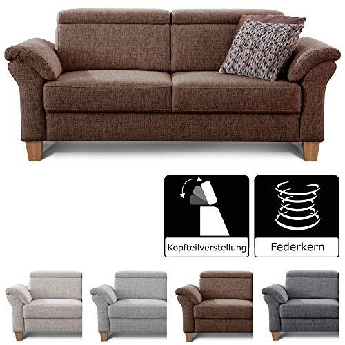 Cavadore 3-Sitzer Sofa Ammerland / Couch mit Federkern im Landhausstil / Inkl. verstellbaren Kopfstützen / 186 x 84 x 93 / Strukturstoff braun