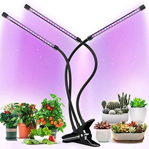 ZJWN Lámpara de Planta, 30W 4 Cabezale Lámpara de Planta Espectro Completo LED Lámpara de Cultivo de Plantas, Lámpara de Crecimiento Grow Light Indoor con 3 Modos y 10 Niveles Regulables,B
