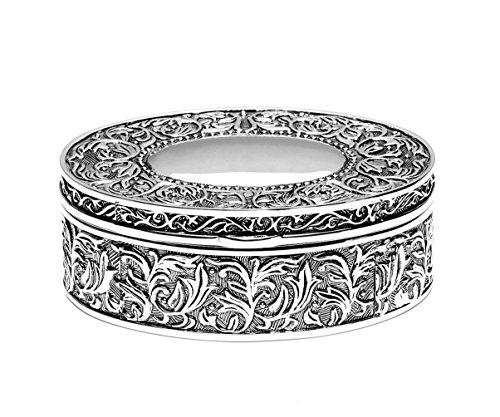 Brillibrum Design Edle Schmuckdose Versilbert Aus Metall Schmuckkästchen Damen Ring-Schachtel Box Dose (Schatulle Silber ohne Gravur)