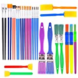 BTNOW Colorful Artist Paint Brush Set 30 Pieces Kids Children Paint Brushes Assorted Sizes for Watercolor,...