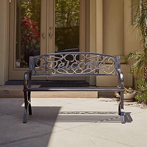 """BELLEZE 50"""" Welcome Vines Decorative Patio Garden Outdoor Park Bench Seat Backyard, Bronze"""