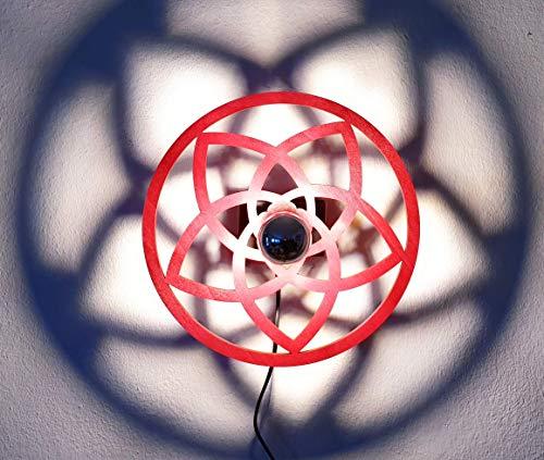 Venusblume | Lampe | Wandbeleuchtung | Holz | Holzlampe | Liebe | Harmonie | Lichtspiel an der Wand | inkl. kopfverspiegleter LED-Lampe und Kippschalter | Ø 44cm | ca. Ø 80cm Licht-/Schattenspiel |