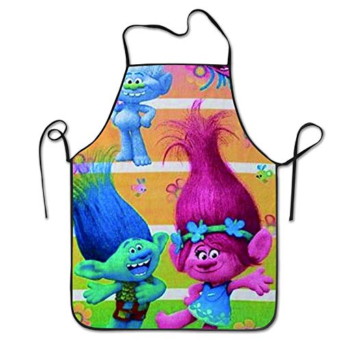 Delantales de cocina Trolls Beach Towel Girls Poppy Beach Pool Towel 80x130CM Adjustable Kitchen Chef Apron With Pocket And Extra Long Ties Commercial Men Women Bib Apron For Cooking Baking Crafting