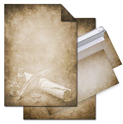 SET 12 Blatt Briefpapier VINTAGE FÜLLER PAPIERROLLE einseitig bedruckt 100g DIN A4 Brief-Bogen + 10 Stück nostalgie Umschläge antik altes Papier braun beige natur marmoriert