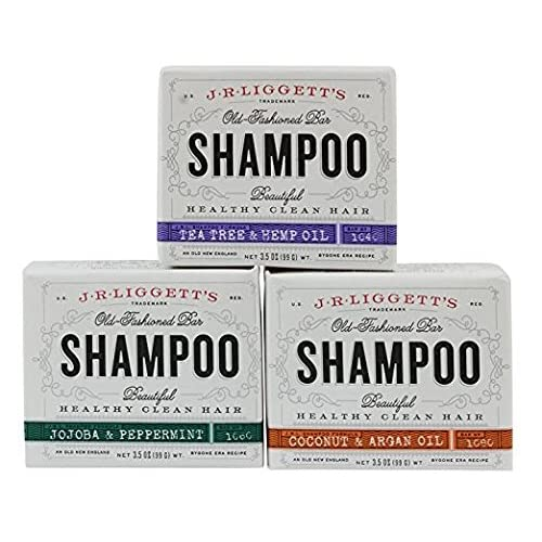 J.R.LIGGETT'S All-Natural Shampoo Bars -Tea Tree & Hemp Oil, Jojoba & Peppermint, and Coconut & Argan Oil - Nourishes Follicles with Antioxidants and Vitamins - Sulfate-Free, Set of 3, 3.5 Ounce Bars