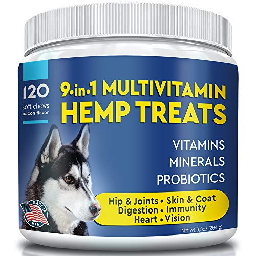 9-in-1 Multivitamin Hemp Treats for Dogs - for Skin, Coat, Hip and Joints, Immunity, Digestion, Heart, Vision - Vitamins for Dogs