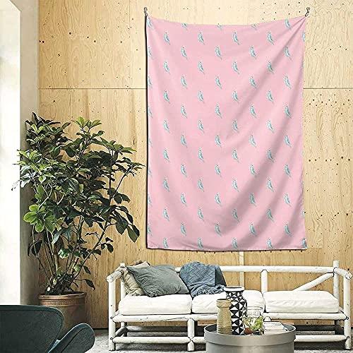 Pastel Parakeet 3d Boutique Tapiz de pared decorativo Pop Art Retro Micro Microfibra Decoración del hogar 90in * 60in