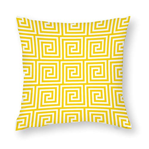 Greek Key in Freesia Yellow Throw Pillow Covers Case Cushion Pillowcase with Hidden Zipper Closure for Sofa Home Decor 16 x 16 Inches