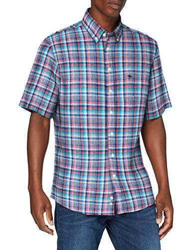 FYNCH-HATTON Herren Linen Combi, B.D, 1/2 Sleeve Freizeithemd, Mehrfarbig (Flamingo Royal Check 7012), X-Large (Herstellergröße: XL)