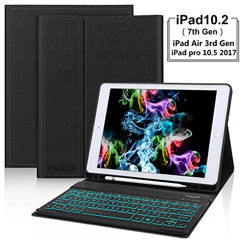 iPad 10.2 7th Generation Keyboard Case with Pencil Holder, Detachable Wireless Bluetooth, 7 Colors Backlit, Smart Folio Leather Cover Bag, Compatible with iPad Air 3rd Generation/iPad Pro 10.5 inch