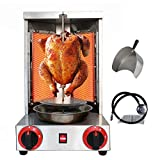 Li Bai Doner Kebab Machine Shawarma Grill Gyro Rotisserie Vertical Broiler with 2 Burner Commercial 110v Stainless Steel Propane Gas Cooking for Restaurant Home Kitchen