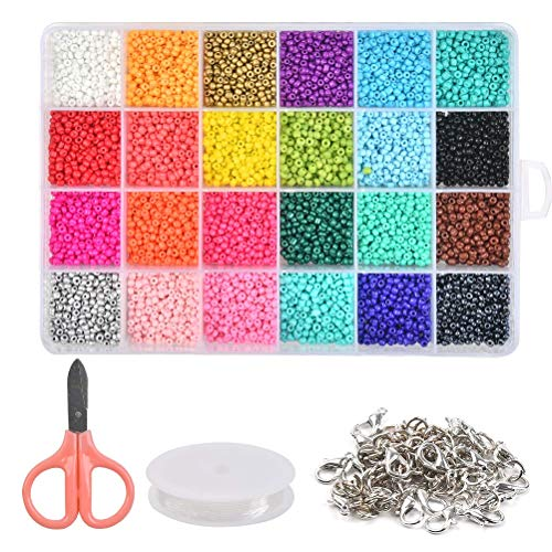 14400pcs Glass Seed Beads, Mixed Colors Small Pony Beads Assorted Kit, 3mm for Jewelry Making with Lobster Clasps Open Jump Rings Beading Cord (24 Colors)