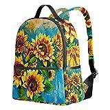 Tenboya mochila escolar unisex con pintura al óleo, girasoles, libro para estudiantes, mochila de senderismo