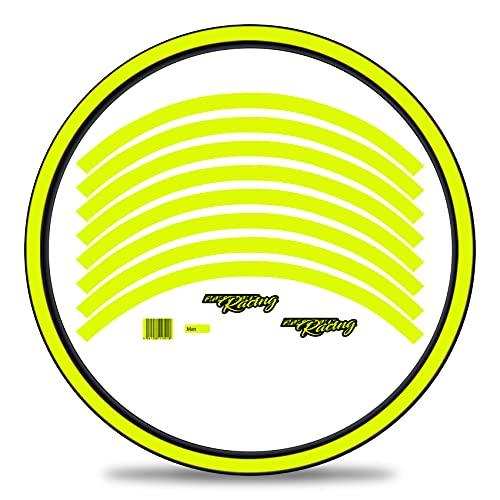 Finest Folia Juego de 16 adhesivos para llantas de bicicleta en diseño clásico completo para 27 a 29 pulgadas para bicicleta de carretera de montaña (amarillo neón, mate)