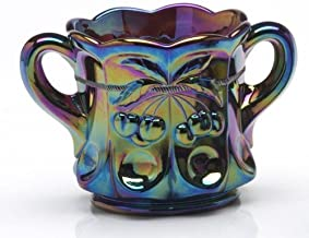 product image for Mosser Glass Cherry Thumbprint Sugar Bowl in Purple Carnival - 4x5.5 Inches