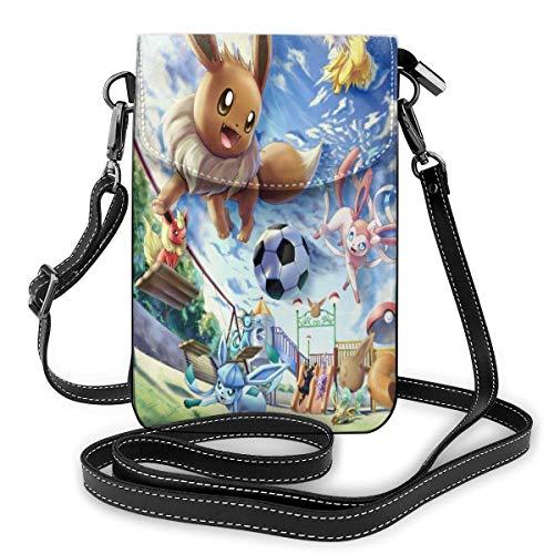 Cartoon Cute Eevee Lightweight Small Crossbody Bags Leather Cell Phone...