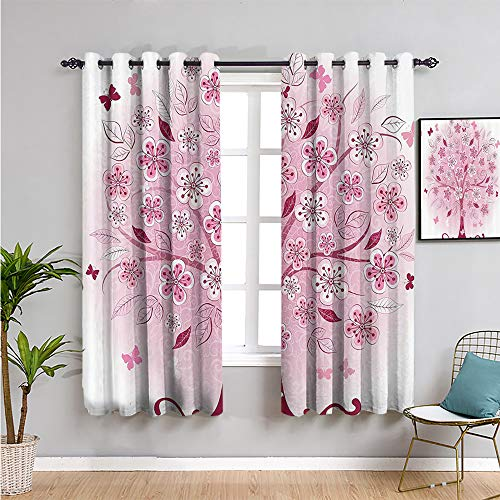 House Decor Collection Kids Curtain, Curtains 84 inch Length Decorative Bonsai Tree with Flowers for Living Room or Bedroom W108 x L84 Inch Leaves and Butterflies Fantasy Ornate Illustration