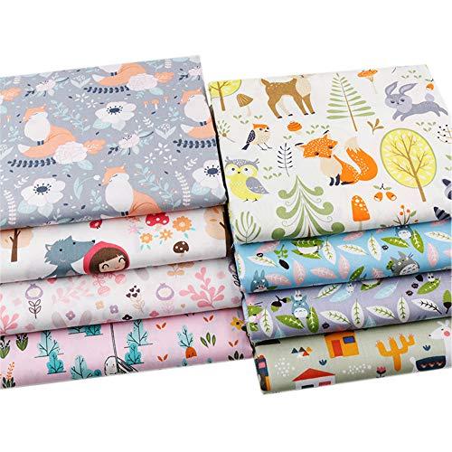 Hanjunzhao Cute Animals Fat Quarters Fabric Bundles,Print Fox Rabbit Totoro Alpaca Cotton Fabric,18 x 22 inches
