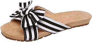Baiggooswt Women New Summer Flat Bottom Slippers Flip Flops Non-Slip Beach Shoes Fashion Stripe Bow Tie Open Toe Sandals