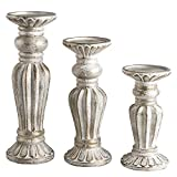 JIXIN Antique Wash Finish Pillar Candle Holders Set of 3, Ideal for LED and Pillar Candles, Gifts for Home, Living Room, Dinning Room, Party,Kitchen,Spa, Wedding and Anniversary