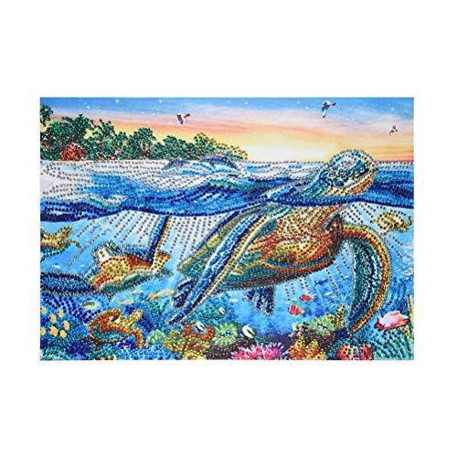 SUPVOX 5d DIY Kits de Pintura de Diamante Tortuga Marina Rhinestone Bordado Pinturas artesanía para el hogar decoración de Pared 40x30 cm