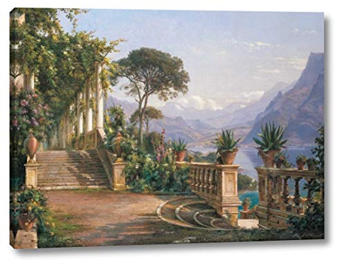 "Lodge on Lake Como by Carl Frederic Aagaard - 23"" x 30"" Canvas Art Print Gallery Wrapped - Ready to Hang"