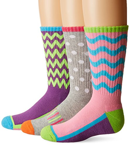 Jefferies Socks Little Girls Sporty Half Cushion Crew Socks 3 Pair Pack, Multi, Medium