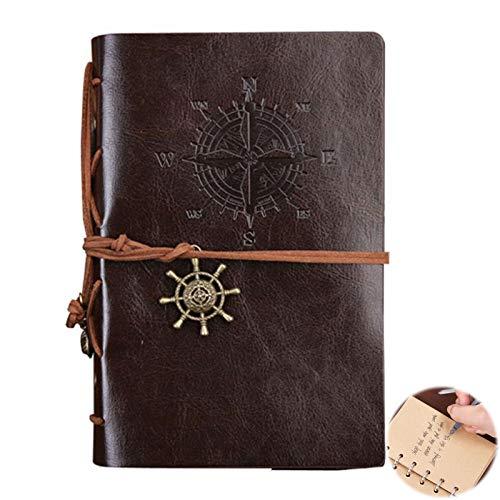 Cuaderno Diario con Funda de Cuero Retro Libreta de Viaje...