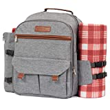 Lazybare Picnic Backpack for 4 with Blanket, Insulated Waterproof Cooler Bag for Outdoor Wine Picnic Basket Set
