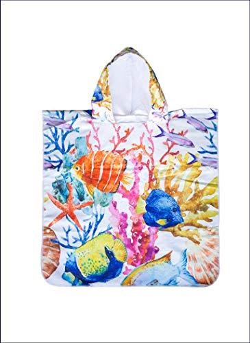 GAOZ Kinder Badetuch Poncho Motiv Fische 1-5 Jahre für Mädchen und Jungen aus Mikrofaser, schnell trocknend, saugfähig, platzsparend, für Baden, Strand, Schwimmbad und Urlaub