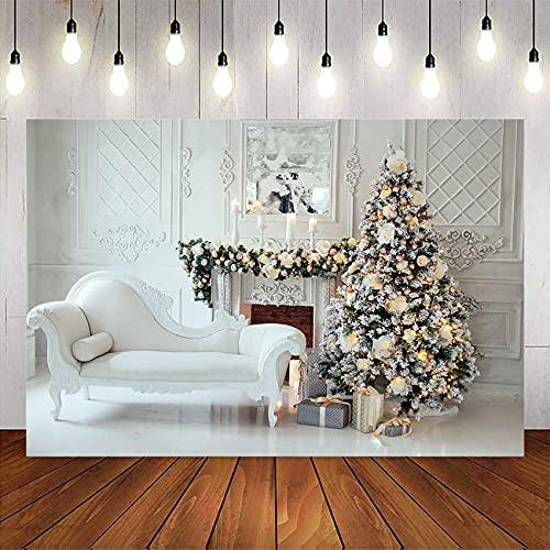 Hintergründe Fotografie Hintergrund Weihnachtsbaum Foto Backgound Studio Kamin Geschenke Familienfeier Dekoration liefert Vinylboden-5x3FT