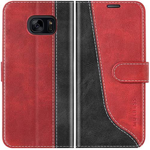 Mulbess Funda para Samsung S7 Edge, Funda con Tapa Samsung Galaxy S7 Edge, Funda Samsung Galaxy S7 Edge Libro, Funda Cartera para Samsung Galaxy S7 Edge Carcasa, Vino Rojo