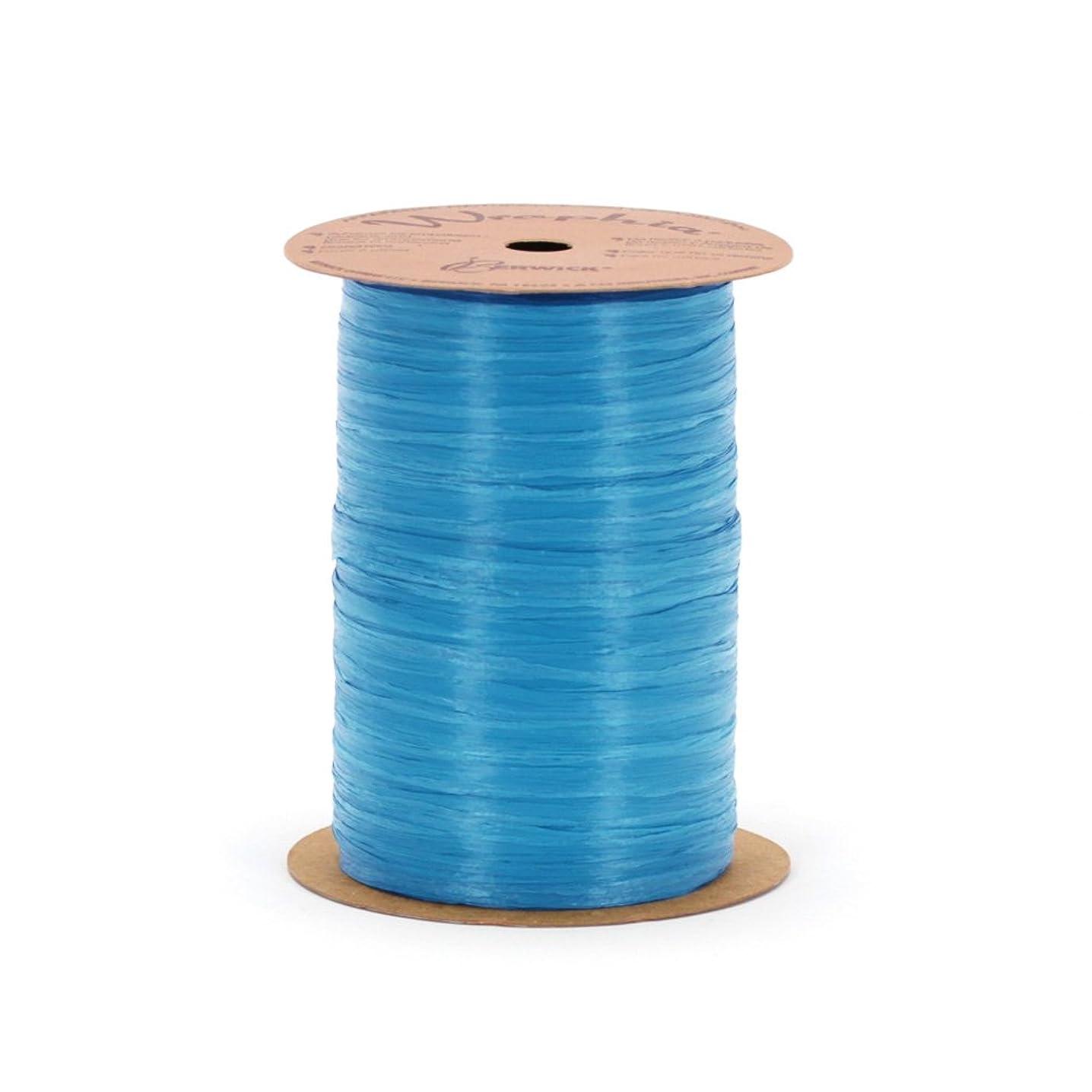 Berwick Offray 1/4'' Wide Matte Raffia Ribbon, Light Blue, 100 Yards