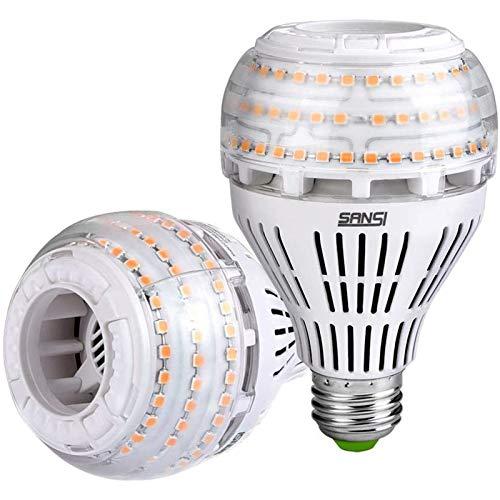 SANSI E27 LED Warmweiß Lampe, 27W (ersetzt 250W Glühbirne) Dimmbar LED Leuchtmittel, 3000 Kelvin 4000 Lumen, Superhell LED Leuchtmittel für Tischlampe, Deckenleuchte, Garage, Schlafzimmer, 2er-Pack