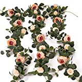 MISSPIN 3pcs Artificial Flowers Eucalyptus Garland Vintage Fake Flower Peony Rose Vine Greenery Decorative Wall Hanging Plant for Wedding Arch Door Arrangement Party Table Decor (Vintage Pink, 3)