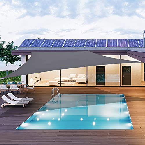 Aogeshi - Parasol impermeable de 3 x 4 m, rectangular, color gris, 98% bloque UV con cuerdas libres para jardín al aire libre