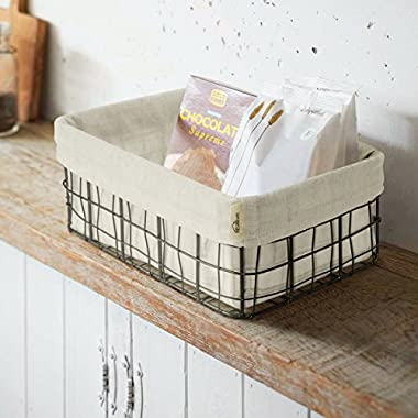 Kealive Metal Wire Basket with Cotton Cloth, Rectangular Wire Basket with Liner can be Used as Magazine, Newspaper Baskets, Storage Basket, Bread Basket and Fruit Basket for Home and Office