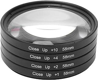 Bindpo Kit de Filtro de Lente Juego de Filtro Macro de fotografía de Primer Plano de Vidrio óptico de 58 mm 4 Diferentes resistencias (+1 +2 +4 +10) para Canon/para Nikon/para cámaras Sony