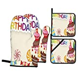 F-shop Birthday Decorations Cute Composition of Candies Yummy Cake Confetti Party Hats Balloons Es Multicolor Oven Gloves and Pot Holders Set Personalized Barbecue Cooking Mitts