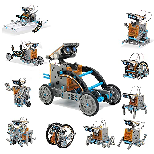 ESSAJOY STEM 12-in-1 Solar Power DIY Building Kit Solar Robot Kit for Kids Educational Science Building Toys-Powered by Solar for Age 8-12 Boys Girls Kids Teens and Science Lovers (Gray)