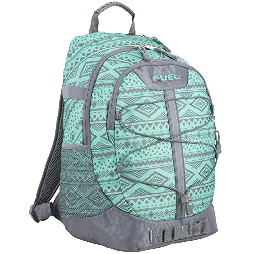 Fuel Terra Sport Spacious School Backpack with Front Bungee, Soft Silver/Turquoise/Festival Aztec Print