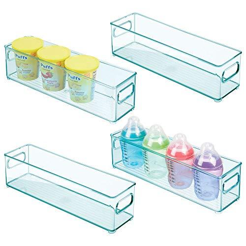 mDesign 4er-Set Kinderzimmer Organizer – schmale Sortierbox mit praktischen Griffen – BPA-freier Kunststoffbehälter für Spielzeug, Windeln, Stofftiere & Co. – hellblau